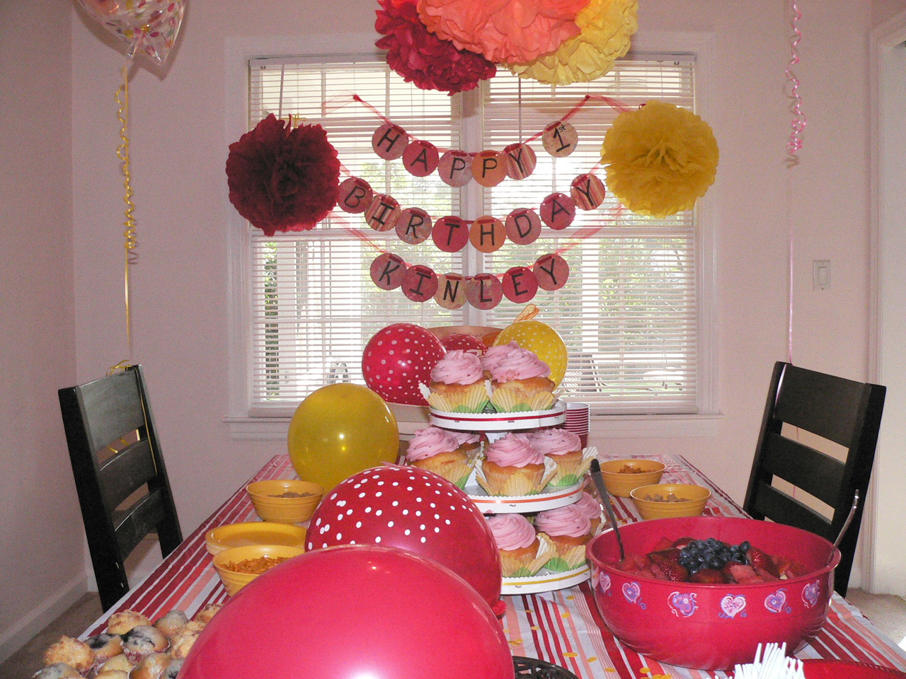 k s 1st birthday party red yellow and orange music ForB Day Decoration Ideas